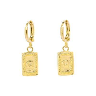 Earrings Antique Initial Q