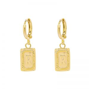 Earrings Antique Initial R