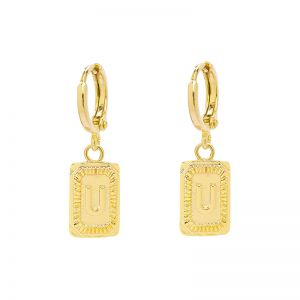 Earrings Antique Initial U