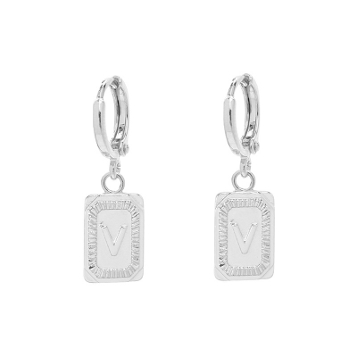 Earrings Antique Initial V