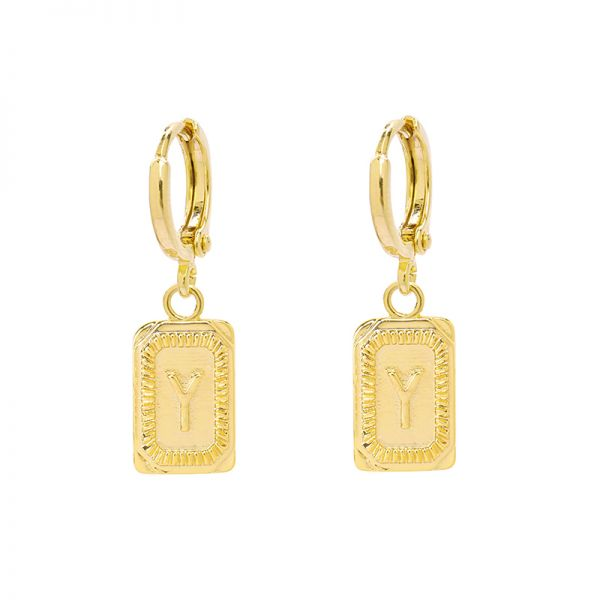 Antique Earrings Initial Y
