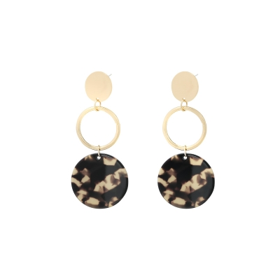 Earrings Circle Leopard