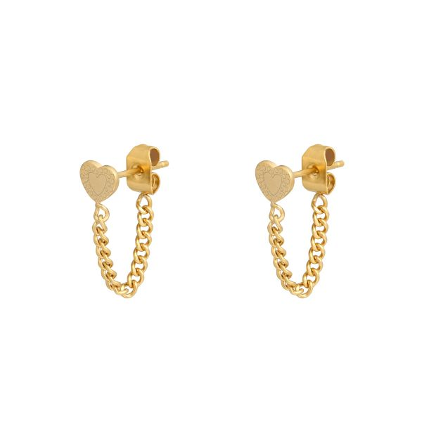 Boucles d'oreilles Heart and Chain