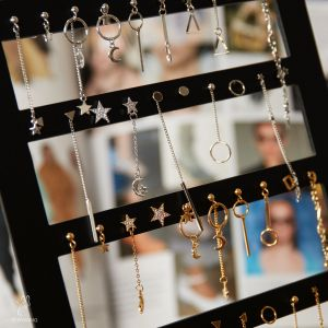 Earrings display numbers and shapes