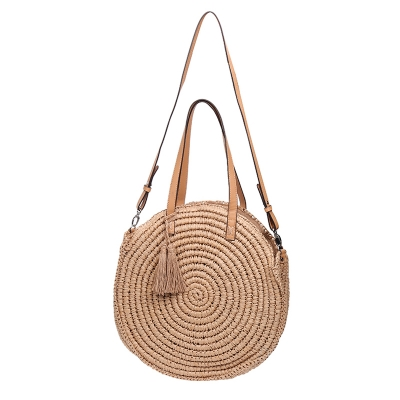 Wicker Beach Bag Summer Round