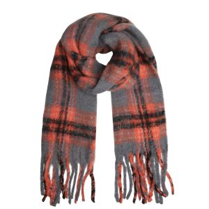 Scarf frayed checks