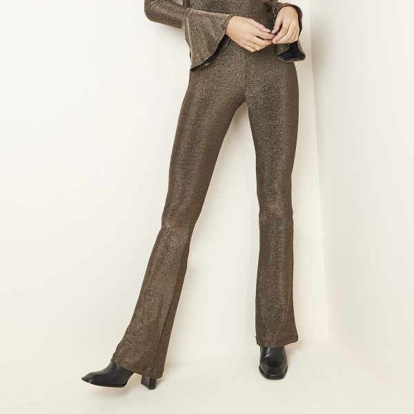 Trousers flare glitter