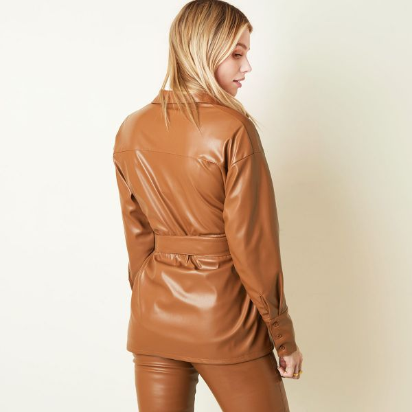 Blusa Leather Look