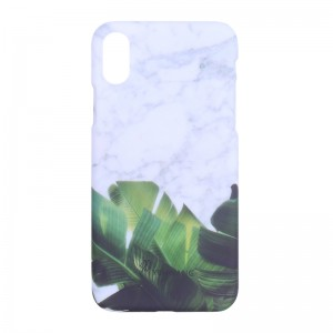 Phone Case iPhone X Leaves & Marble