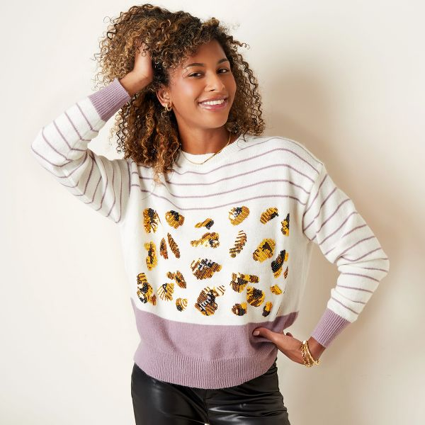 Sweater with stripes and sequin