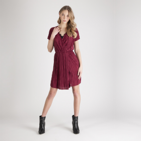 Dress Burgundy Pleats S