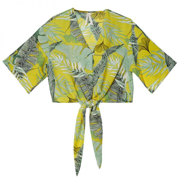 Crop top tropical leaves