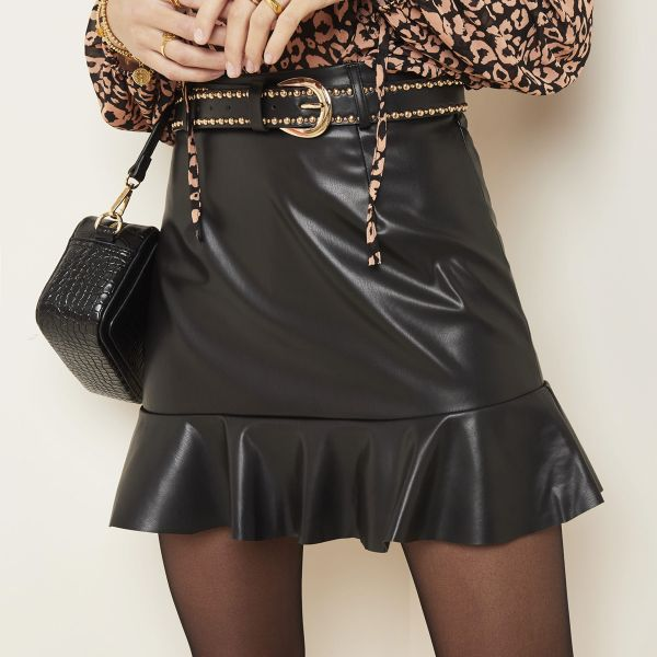 Falda leather peplum