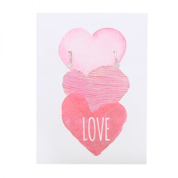 Postard Three Hearts -Love-