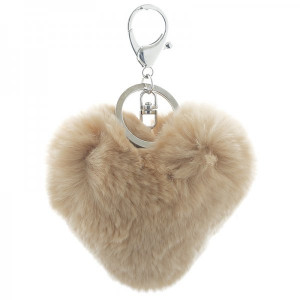 Fur key chain heart -taupe-