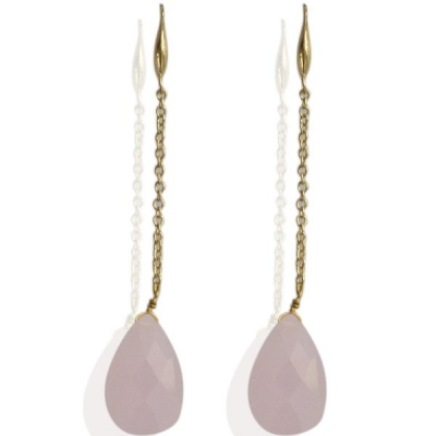 Earrings Goldy Drop -pink-