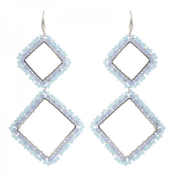 Earrings square -blue-