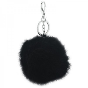 Fur key chain -black-
