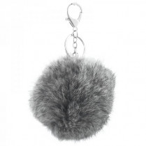 Fur key chain -gray-