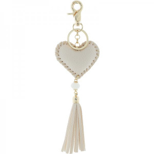 Key ring Hart -creme-