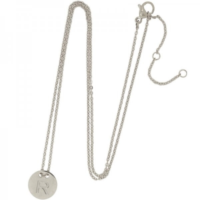 Necklace Coin R -silver-