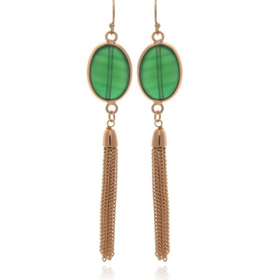 Earrings Gems -Green-