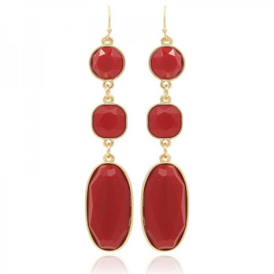 Earrings Ovals -Red-