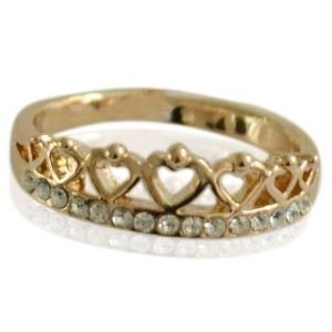 Ring Bling Heart #16 -goud-