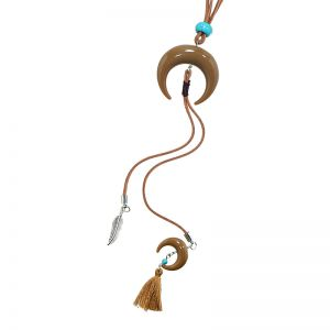 Necklace Leather Feather