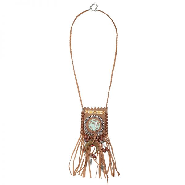 Necklace boho bag skull