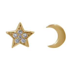 Earrings Half Moon Star