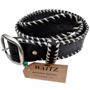 Gürtel White Stitches Black -100-