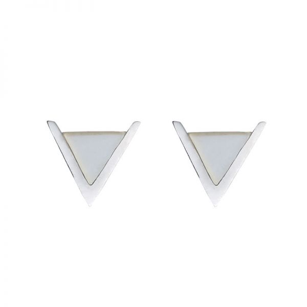 Earrings Minimalistic Marble Double V
