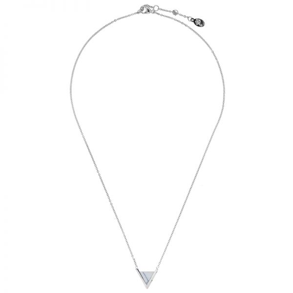 Necklace Minimalistic Marble Double V