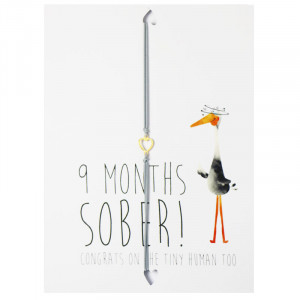 Postkarte 9 Months sober! Congrats on the tiny human too