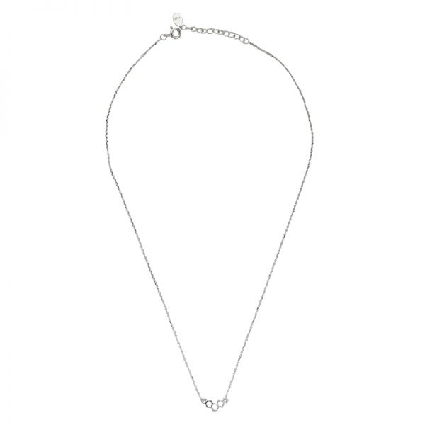 Necklace tiny silver corner rounds