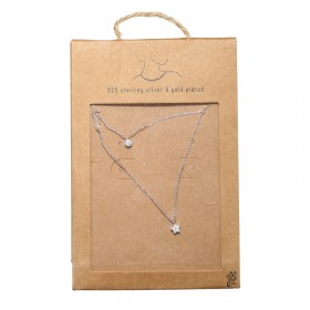 Necklace Tiny Silver Round & Star
