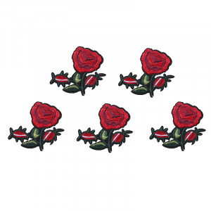 Jeans Patch Pretty Red Rose