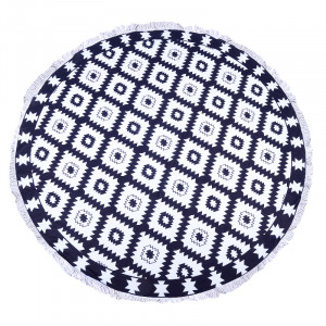 Beach Towel Blue & White Print