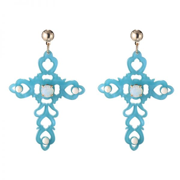 Earrings baroque cross