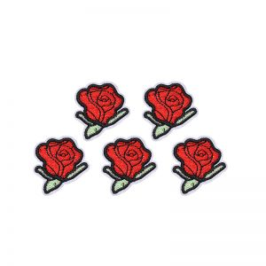 Jeans patch little red rose
