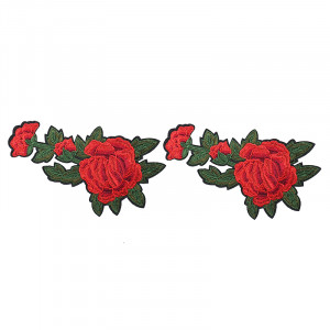 Jeans Patch Red Flower