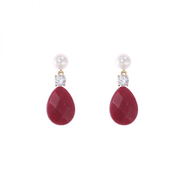 Earrings Flat Stone Drops