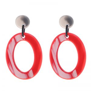 Oorbellen Statement Two Color Oval
