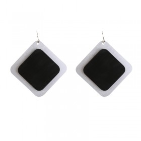 Earrings Artistic Double Squares