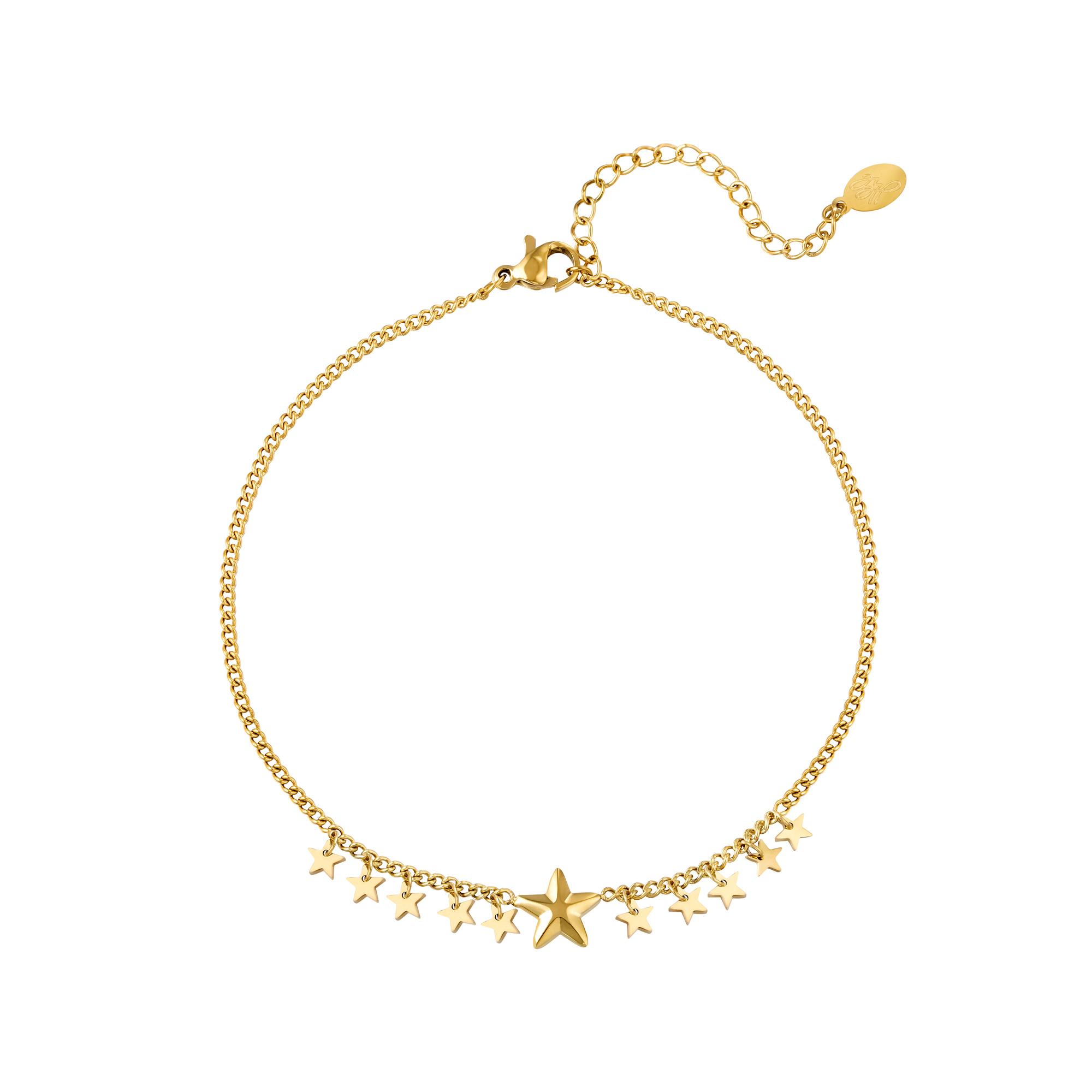 Bracelet de cheville grandes et petites étoiles en acier inoxydable