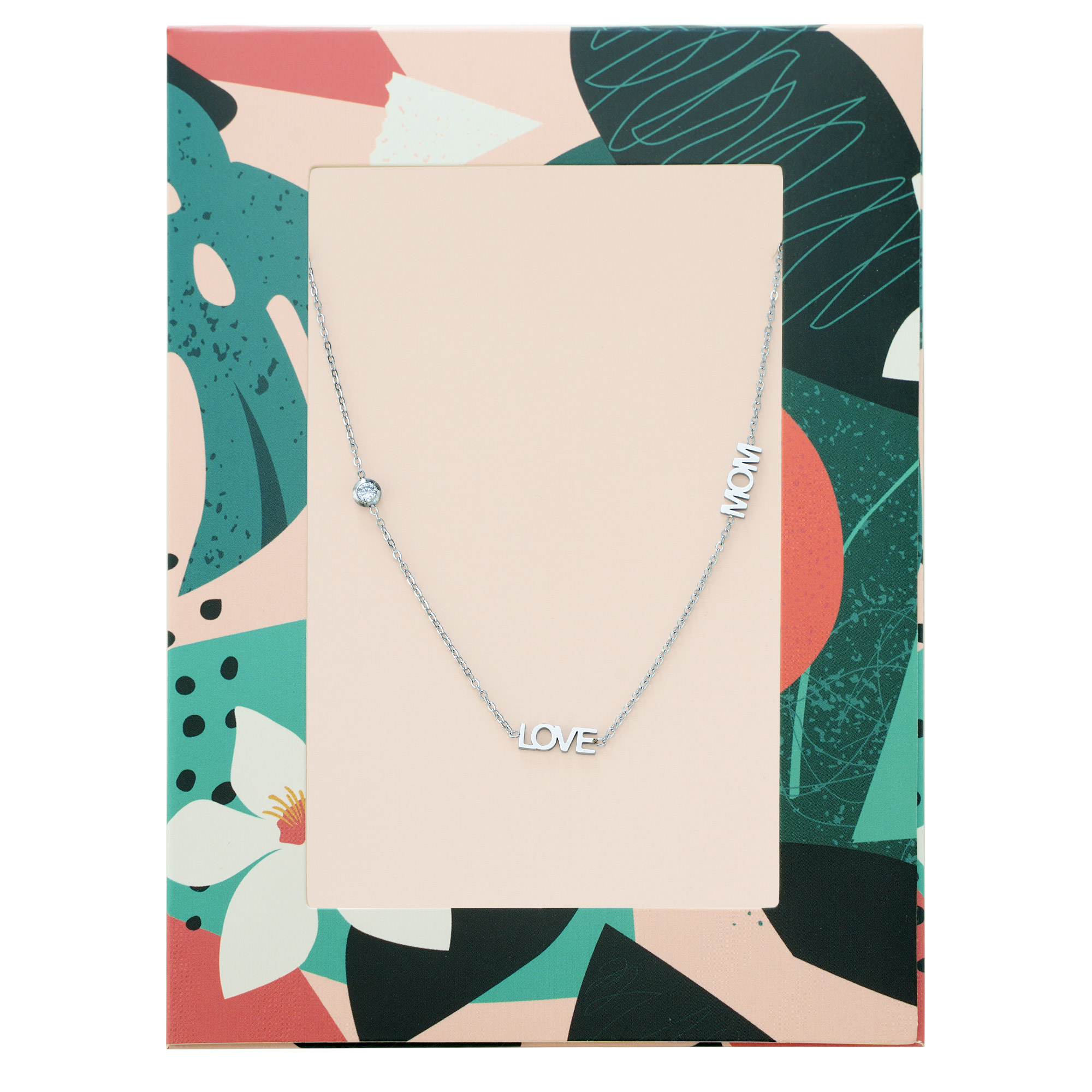 Necklace text love mom with zircon stone gold