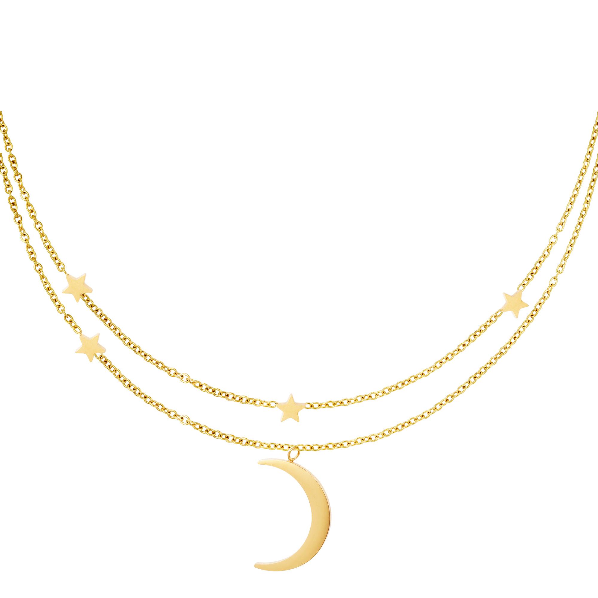 Collar doble luna y estrellas