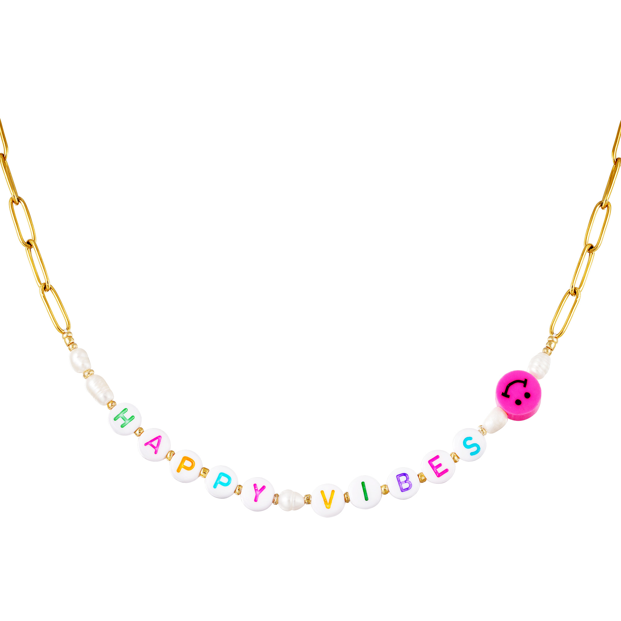 Stainless steel necklace Happy Vibes