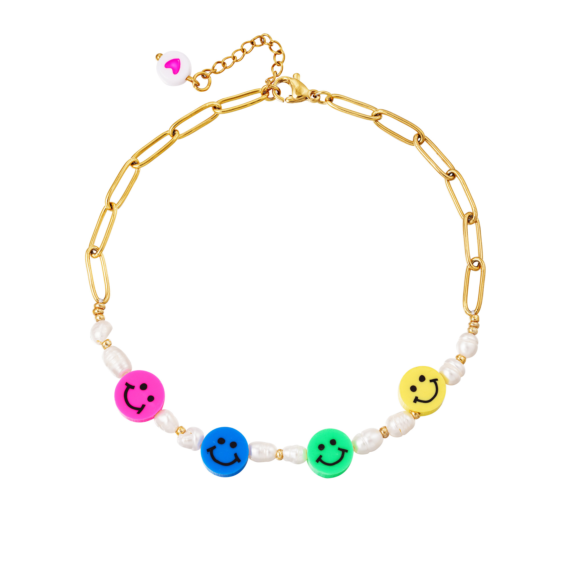 Stainless steel anklet Smilies